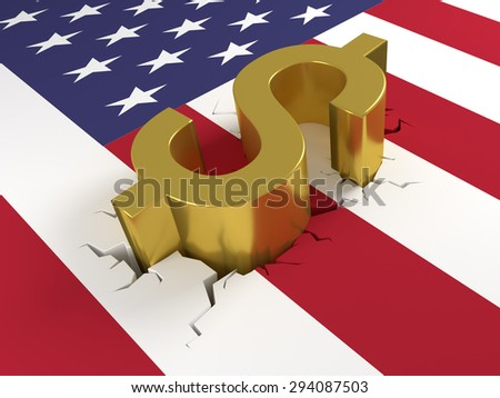 Dollar sign laying on a United States of America (USA) flag. The flag is cracked representing crash or fall of the dollar. 3D Illustration. - stock photo
