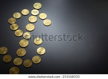 Dollar Sign made from Coins - stock photo