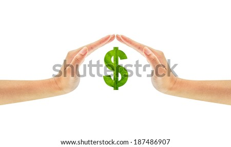 Dollar sign made of green leaf on woman hands isolated on white background - stock photo