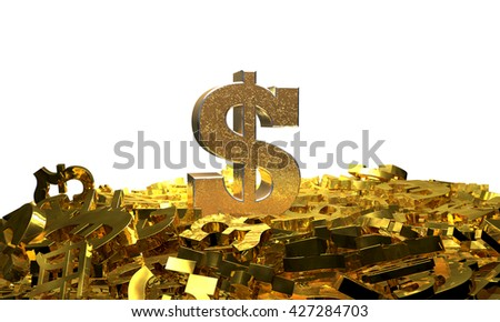 Dollar sign on a pile of other currency symbols. 3D illustration - stock photo