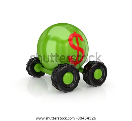 Dollar sign on a wheel.Isolated on white background.3d rendered. - stock photo