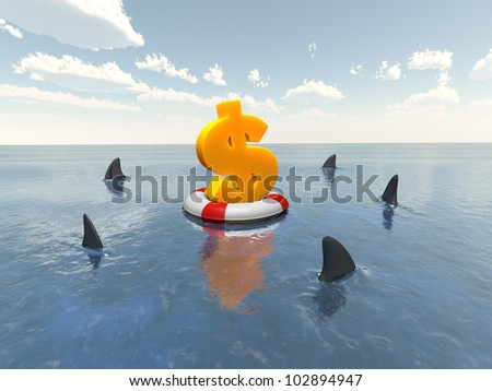 dollar sign on the lifeline - stock photo