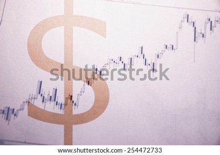 Dollar sign & resign stock chart as background. Multiple exposure. - stock photo