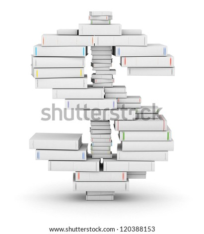 Dollar sign, stacked from many blank title books in column - stock photo