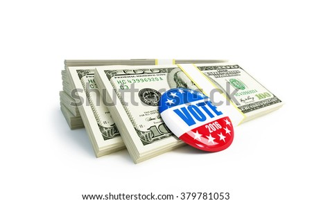 dollar sign vote USA 2016 badge 3d Illustration on a white background - stock photo