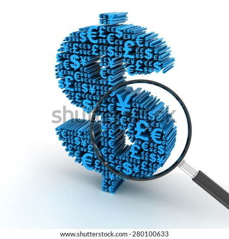 Dollar signs formed by major currency symbols, with magnifying glass, 3d render - stock photo