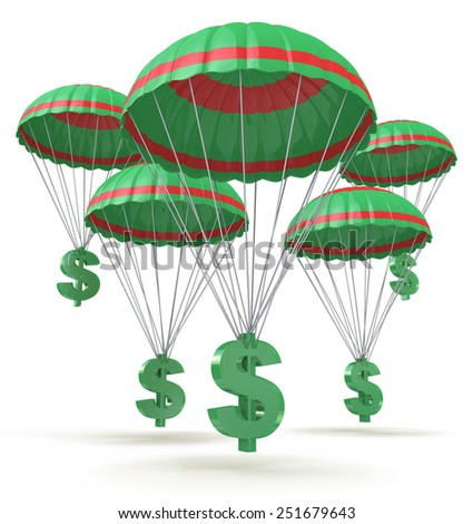 Dollar signs parachuting down from the sky  - stock photo