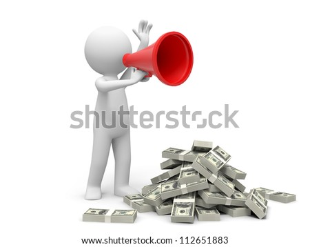 Dollar/speaker/a person walk with a speaker , bundles of dollars - stock photo
