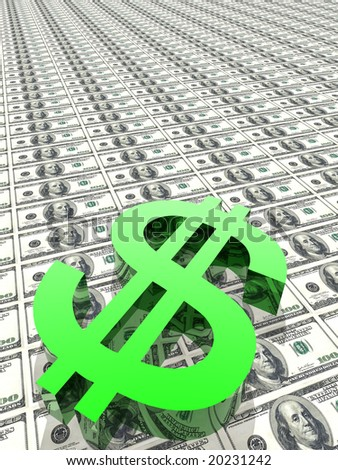 Dollar symbol in money background - stock photo