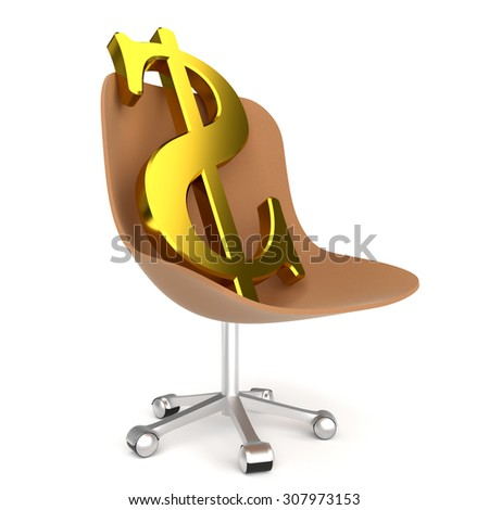 Dollar symbol in office chair on the white background - stock photo