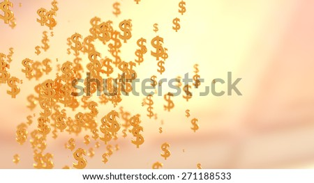 Dollar symbols cluster in a round shape. Background with space for text on te right. - stock photo