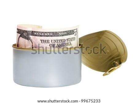 dollar tinned isolated on white background - stock photo