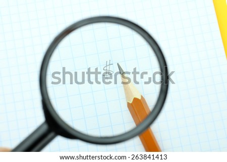 Dollar under a magnifying glass, drawn in pencil - stock photo
