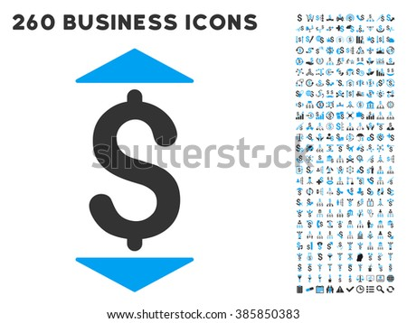 Dollar Up Down icon within 260 glyph business pictogram set. Style is bicolor flat symbols, light blue and gray colors, white background. - stock photo