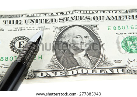 Dollar with black pen - stock photo