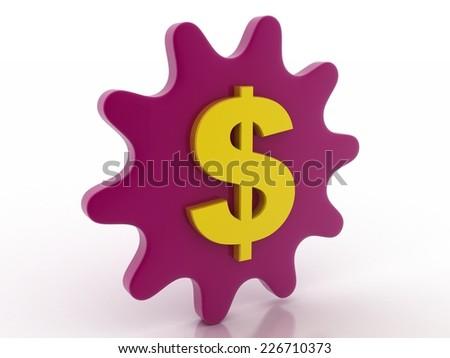 dollar with gear wheel stock image - stock photo