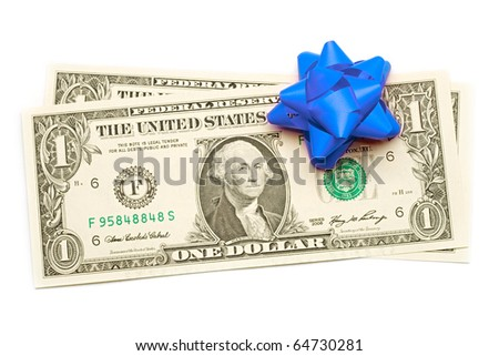Dollar with holidays bow isolated on white - stock photo