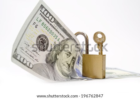 Dollar with padlock as a concept of protection - stock photo