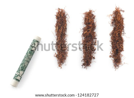 dollar with tobacco cocaine stripes on white background - stock photo