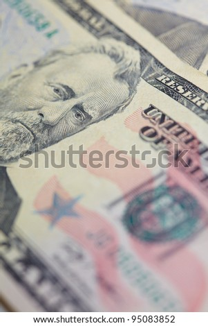 dollars and coin - stock photo