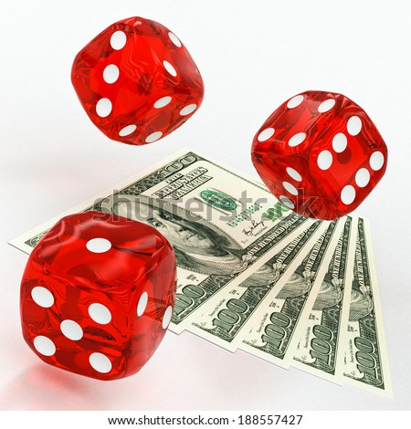 dollars and dice on a white background - stock photo