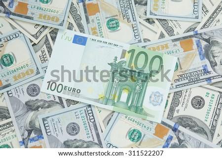 dollars and euro  - stock photo