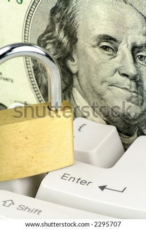 Dollars and keyboard, concept online shopping safety - stock photo