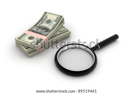 Dollars and magnifying lens - stock photo