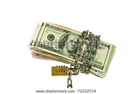 Dollars and other banknote with chain on white background - stock photo