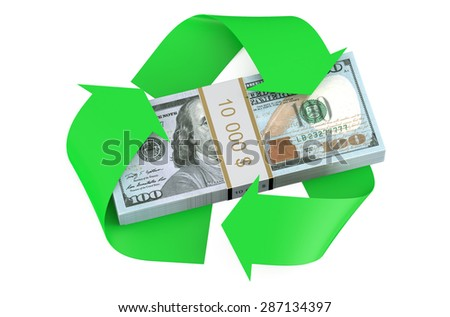 dollars and recycle symbol isolated on  white background  - stock photo