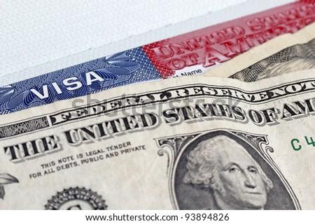 Dollars and US entry  visa - stock photo