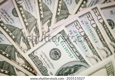 Dollars banknotes background - macro shot - stock photo