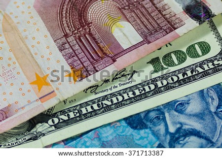 dollars, euro and hryvnia - stock photo