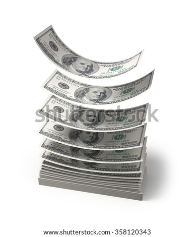Dollars falling to the stack of dollars , isolated , 3d render - stock photo