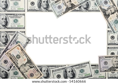 dollars frame - stock photo