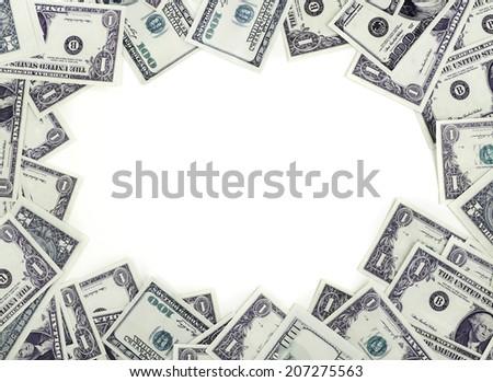 Dollars frame Different dollars banknotes frame - stock photo