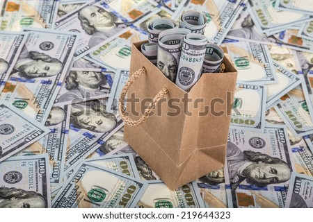 dollars in a shopping bag - stock photo