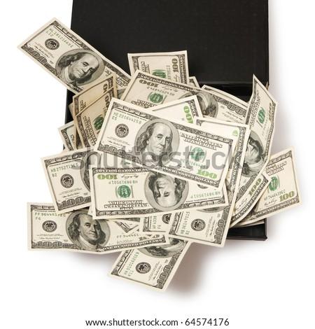 dollars in black box, money - stock photo