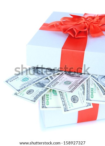 Dollars in gift box isolated on white - stock photo
