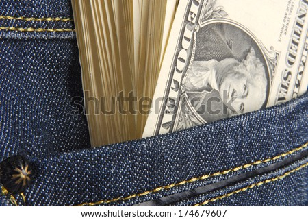 dollars in the pocket - stock photo