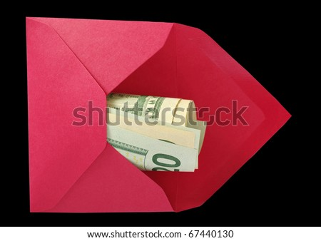 Dollars in the red open envelope isolated on a black background with work paths. - stock photo