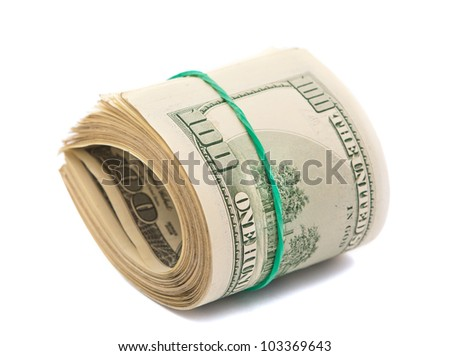 dollars isolated on a white background - stock photo