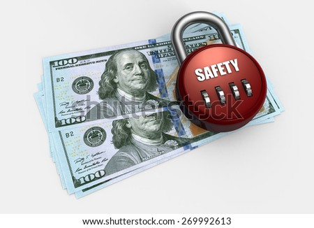 dollars on a closed safe - stock photo