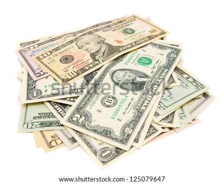 Dollars. On a white background. - stock photo