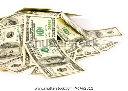 dollars on white background - stock photo
