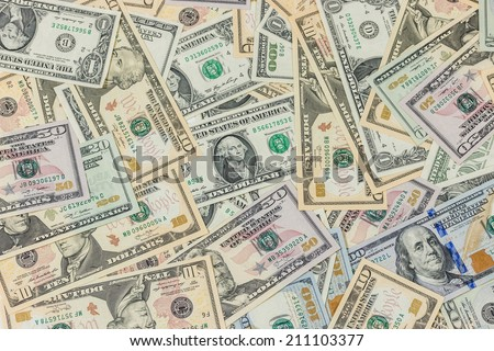dollars pile as background - stock photo