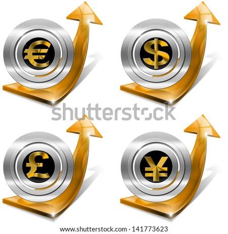 Dollars Pound Euro Yen Growth - Positive Arrow / Orange arrow tending upwards with dollars pound euro yen currency symbols - stock photo