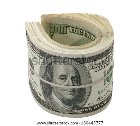 Dollars roll isolated on white background - stock photo