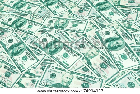 Dollars seamless background. High resolution wallpaper texture of rolled in a tube one hundred and flat fifty banknotes toned in green and blue - stock photo