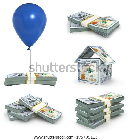 dollars stack collection, money concept - stock photo